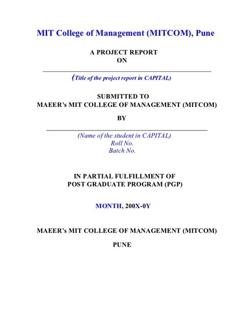 project report project report format by vishal
