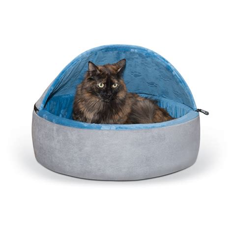 Petco Cat Beds by K H Blue And Gray Self Warming Hooded Cat Bed Petco