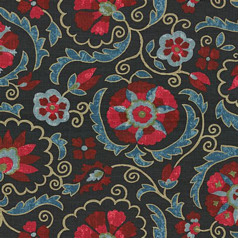 suzani upholstery fabric navy red suzani washed linen fabric mediterranean