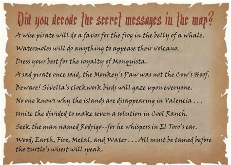 messages for secret pirate101 treasure map mailer