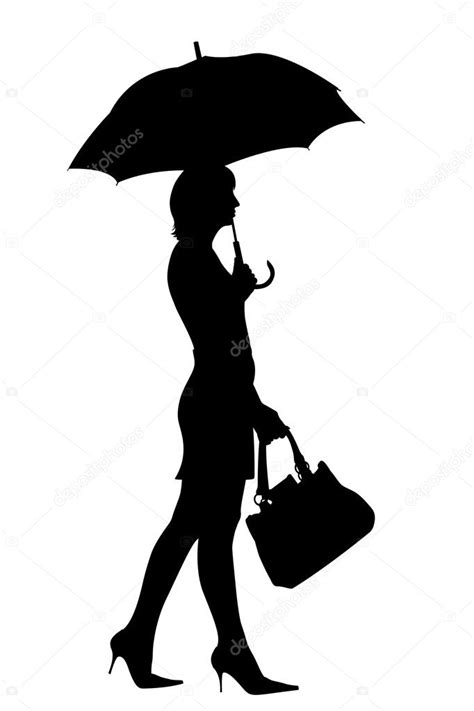 Walking woman with umbrella silhouette — Stock Photo
