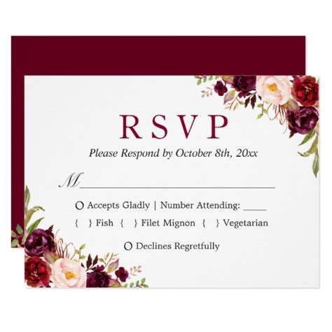 normal invitation card template burgundy marsala floral autumn wedding rsvp card