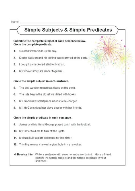 Worksheet Simple Subject And Simple Predicate