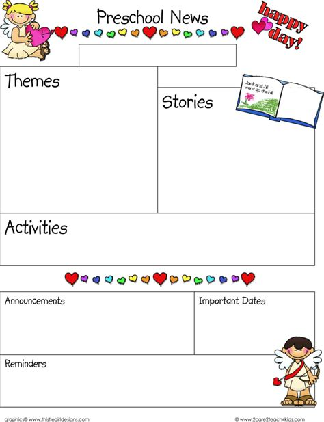 download february preschool newsletter template for free
