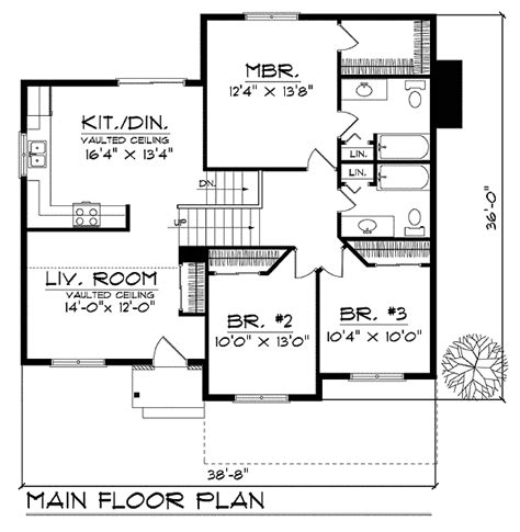 Split Level Plan by Split Level With Vaulted Ceilings 89629ah 1st Floor