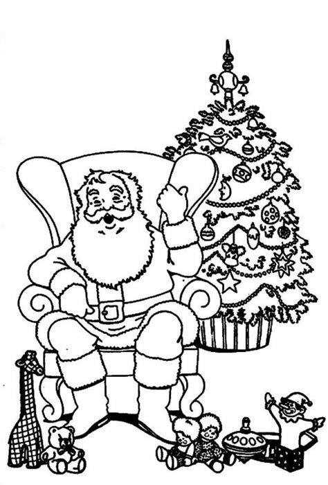 Santa Claus And Reinderr Decorating Christmas Tree Santa And Tree Coloring Pages