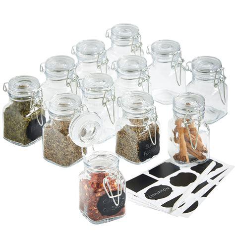 Airtight Spice Jars Vonshef 12 X Mini Clip Top Airtight Seal Food Spice