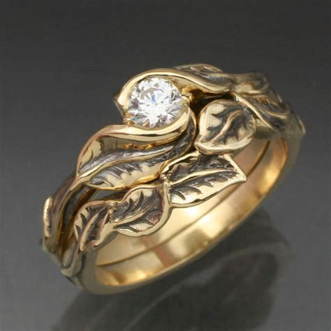 Wedding Rings Leaves by Leaf And Twig Design Ring Sets The Hermetic Library