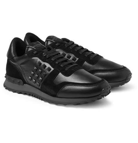 black sneakers valentino studded suede and leather sneakers in black for