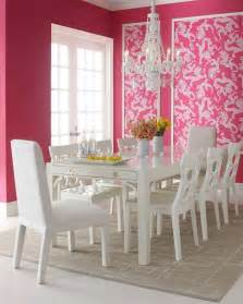 Pink Armchair Design Ideas Charming Dining Room With Pink Wall Deor White Dining Table And White Chairs With Soft Grey Rug