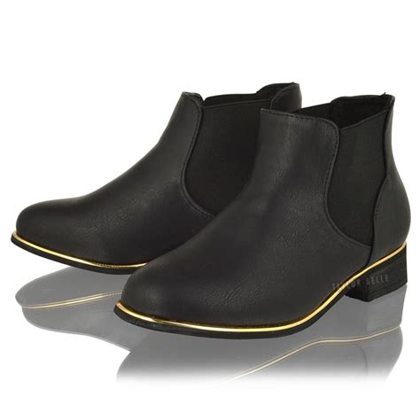 chelsea black fashion flat slip pull on