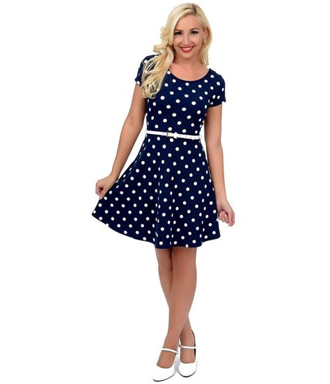 Polkadote Style Blue Orange Mini Dress 17 best images about navy blue polka dot dress on white blue 1950s