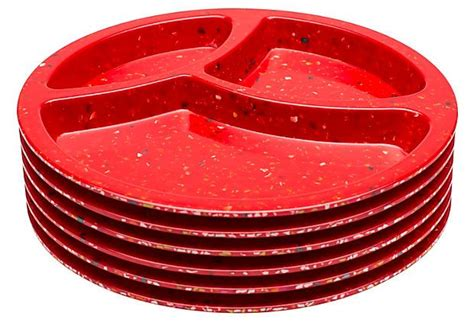 melamine sectioned plates s 6 melamine divided plates red