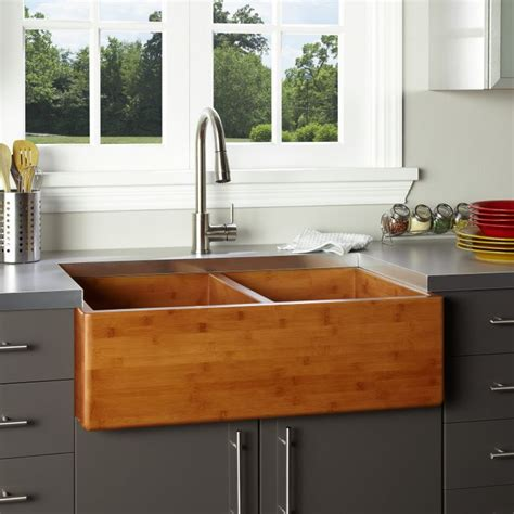 36 quot double bowl bamboo farmhouse sink kitchens
