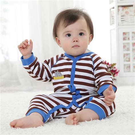 Hippo Jumpsuit 1 hippo brown stripes baby rompers for boys sleeve toddler romper roupa macacao bebe jumpsuit