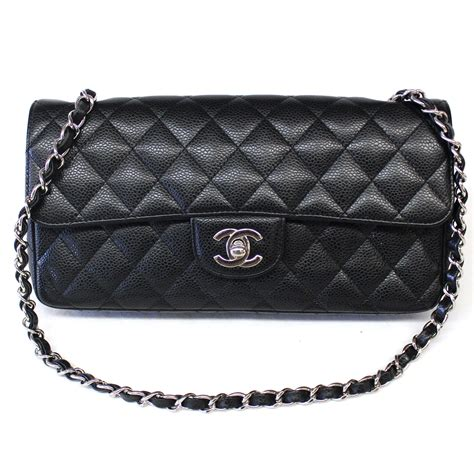 Clucth Chanel 10 chanel black caviar leather classic east west flap quilted