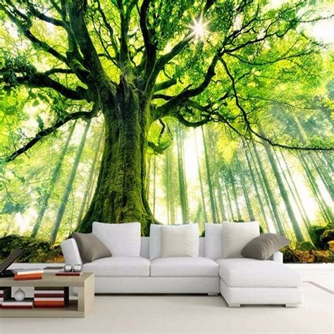 mural wall paper natural landscape towering  trees