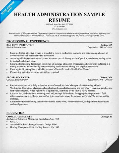 Resume Templates Healthcare Administration Health Administration Images