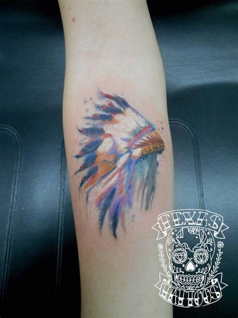 watercolor tattoos dallas tx watercolor american headdress done by josh at