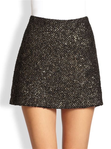 elana metallic tweed mini skirt in black