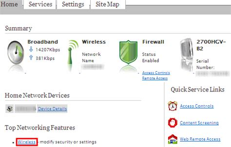finding the wireless security type on the 2wire or pace