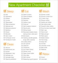 Appartment List by Sle New Apartment Checklist 4 Documents In Pdf