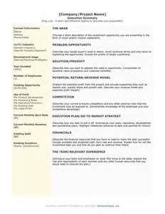 Executive Summary Template by Doc 20062535 1 Page Executive Summary Template
