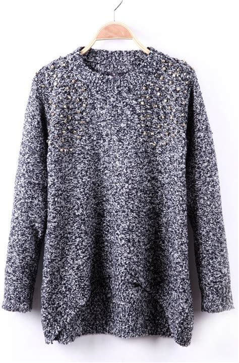 b礬la fleck the fast black and white fleck rivet embellished crew neck sweater