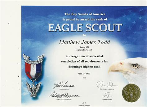 eagle scout certificate template information playground matthew s eagle application and