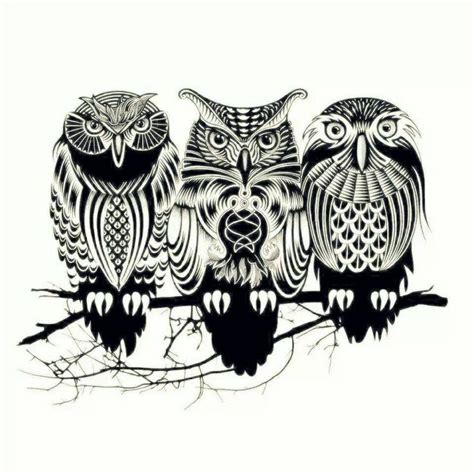 tribal pattern owl background tribal owls tattoos pinterest