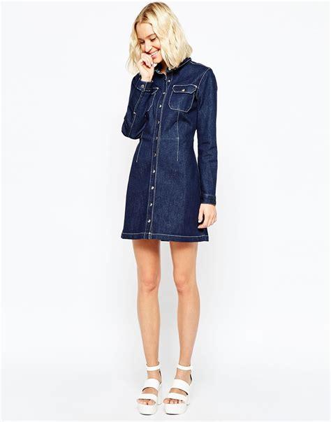 lyst asos denim western a line shirt dress in indigo in blue