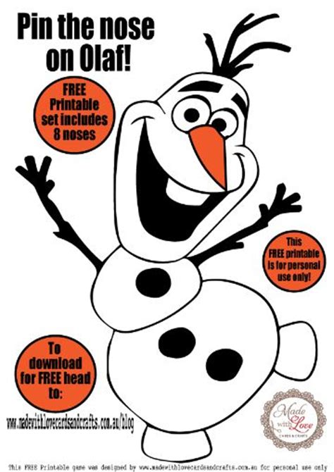 frozen printable olaf noses pin the nose on olaf game printable set includes noses