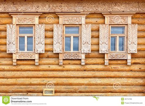 country style windows windows on the wooden house facade old russian country