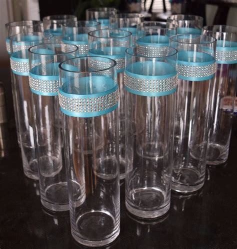 Set Of 14 Wedding Glass Cylinder Vases Aqua Ribbon Glass Vase Table Centerpieces