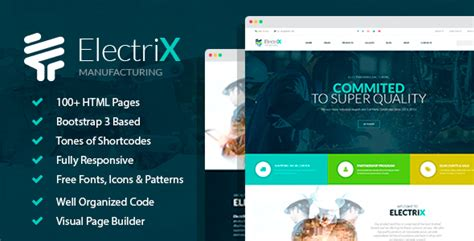 Electrix Industrial And Electric Equipment Manufacturing Html Template With Builder By Free Manufacturing Website Templates