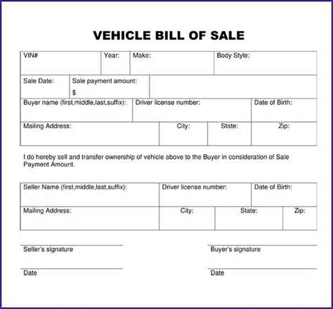 generic bill of sale for car letterproposaltemplate com