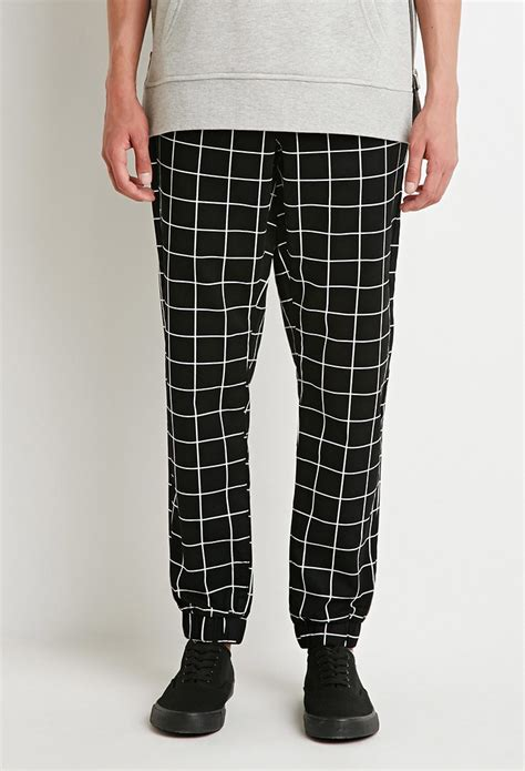 grid pattern jeans lyst forever 21 grid print joggers in black for men