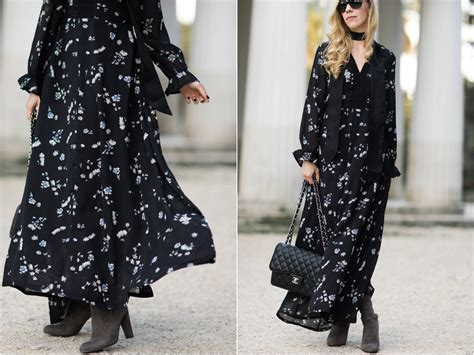 moody floral maxi dress scarf suede boots