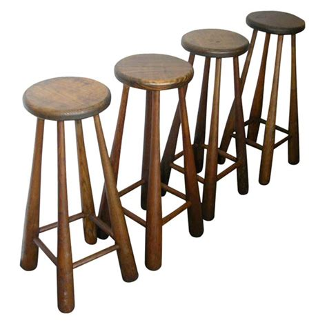 Baseball Base Bar Stools by Vintage Baseball Bat Bar Stools At 1stdibs