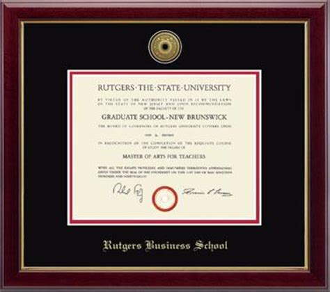 Rutgers Mba Diploma Frame by Rutgers The State Of New Jersey Gold Engraved