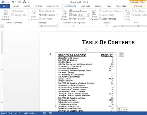 Table Of Contents On Word by Table Of Contents Apa Style Format