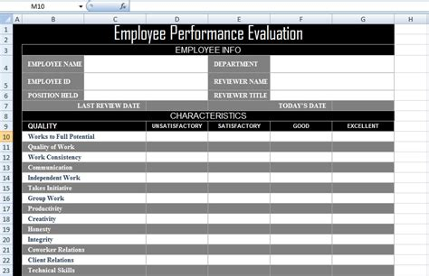 Employee Performance Evaluation Form Xls Free Excel Spreadsheets And Templates Employee Performance Tracking Template Excel