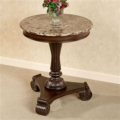 cherry wood accent table with green marble top killian marble top round accent table