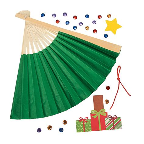 christmas tree fold up fan craft kit decoration crafts
