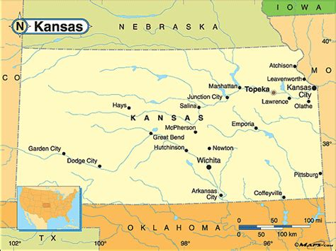 kansas map kansas political map by maps from maps world s