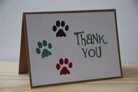 printable thank you cards dogs 5 paw print thank you cards pet thank you card set dog