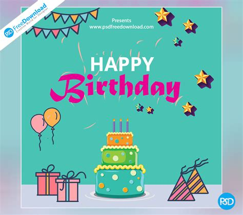 greeting cards templates free downloads happy birthday template greeting card psd free