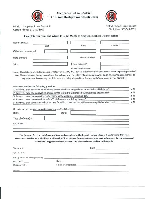 Oregon Background Check Form Forms Grant Watts Parent Organization Gwpo