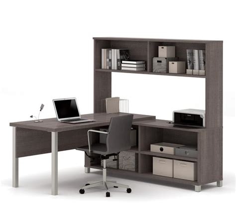 Premium Modern L Shaped Desk With Hutch In Bark Gray Grey L Shaped Desk
