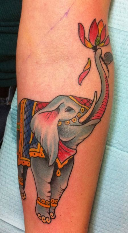 color elephant tattoo the map tattoos flower lotus elephant